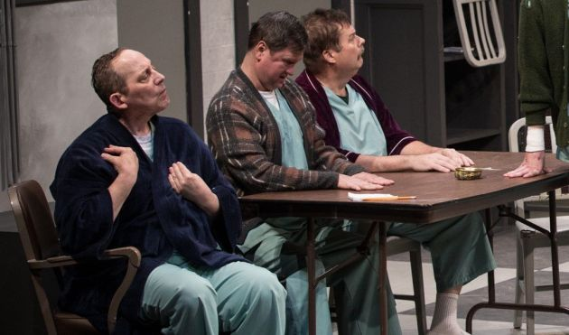 """George Roth, left, Tony Zanoni and Steve Oleksa in Beck Center for the Arts' """"One Flew Over The Cuckoo's Nest."""" Photo / Kathy Sandham"""