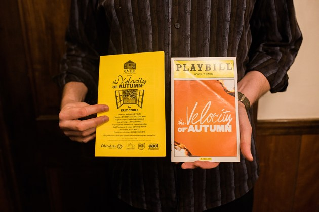 Coble holding CVLT and Broadway playbills of his play.