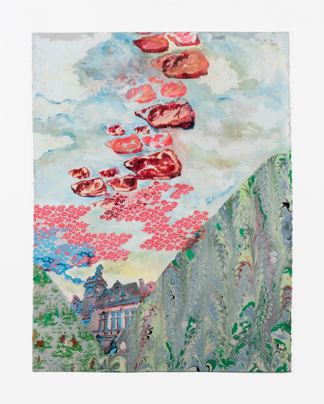 """""""The Difference between Climate and Weather"""" by Corrie Slawson (2018); screen print, oil, gouache, acrylic and marbling on paper, 22 x 31 inches."""