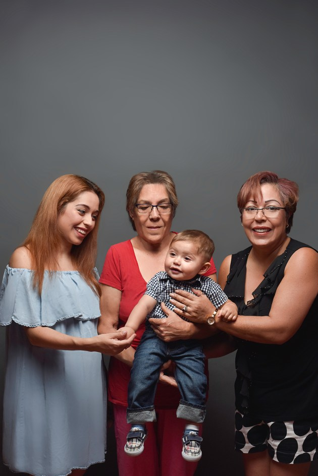 In this image is Maria Gomez with her daughter, Silvia Landino Pilcher; granddaughter, Kimberly Pilcher; and great-grandson, Zidane Mata. Pilcher immigrated from Mexico in 1988 and moved from Florida to Akron in 1993.