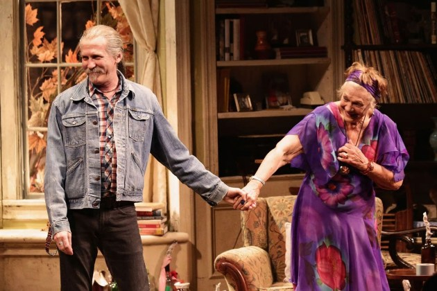 "Stephen Spinella and Estelle Parsons take a curtain call at the Broadway opening night of ""The Velocity of Autumn."""