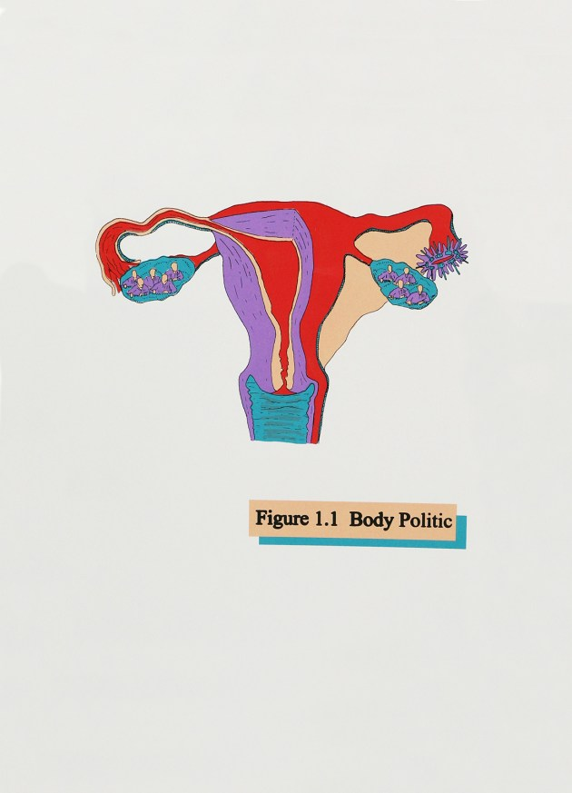 """Body Politic (White)"" by April Bleakney (2018); screen print, 12½ x 19 inches."