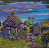 Bess Rodriguez Richard, detail of Overlooking Stonington, collection of the AAWR.