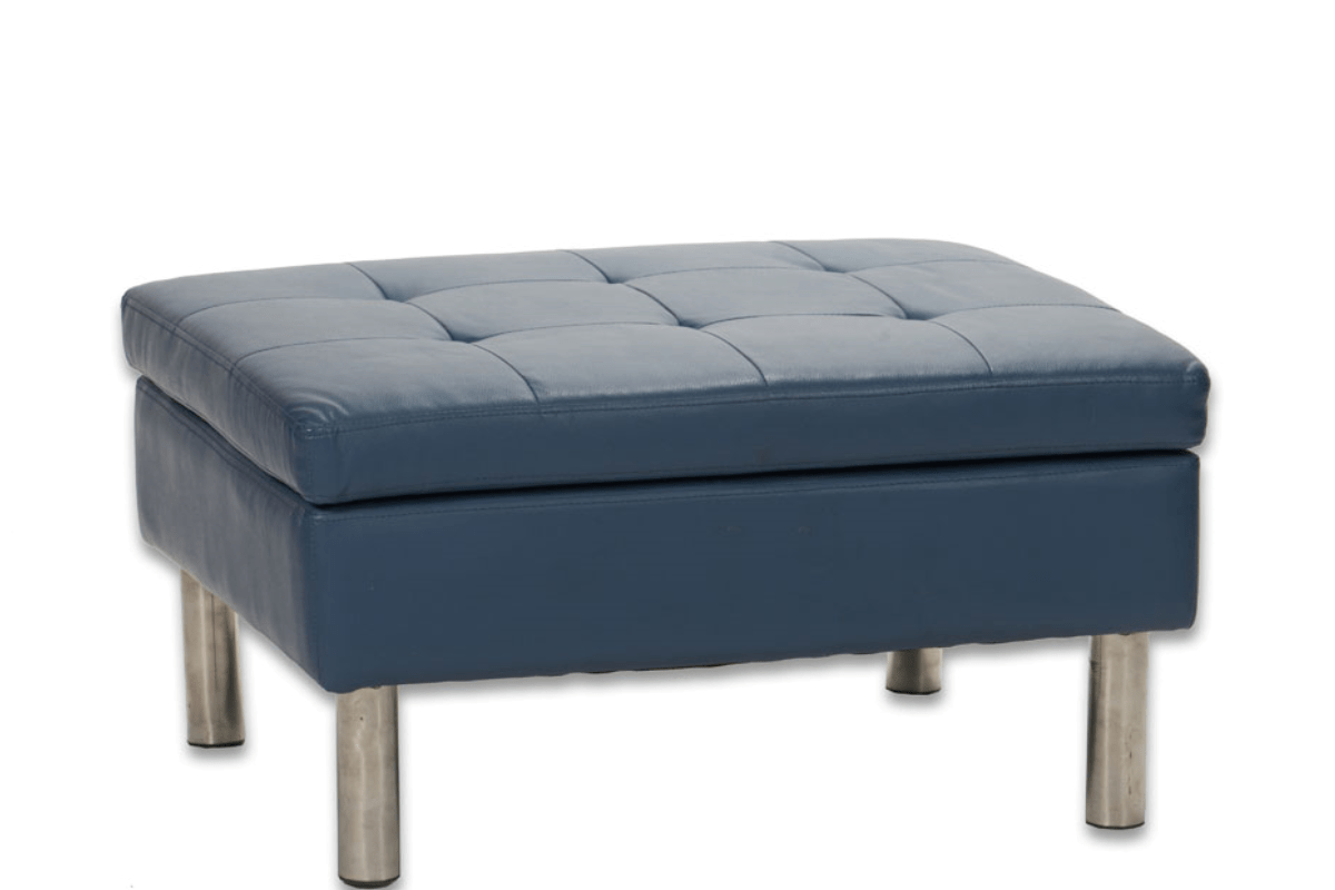 d 05 blue leather tufted ottoman