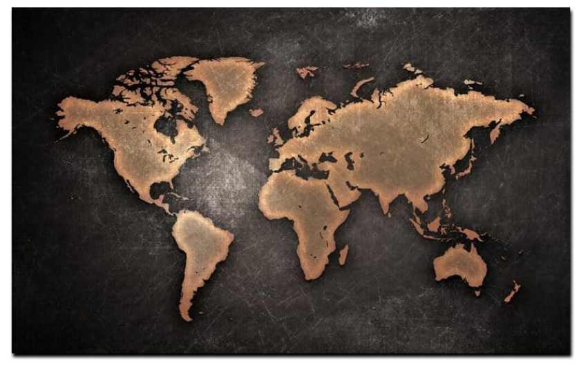 Abstract 3D World Map Canvas Painting Classical Black World Map Print On Canvas Wall Art