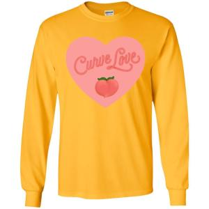 Curve Love Classic Fit Long Sleeve Cotton T-Shirt in Gold from AllGo's merch store featuring plus size statement apparel and more