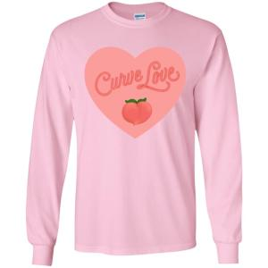 Curve Love Classic Fit Long Sleeve Cotton T-Shirt in Light Pink from AllGo's merch store featuring plus size statement apparel and more