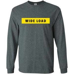 W I D E L O A D Classic Fit Long Sleeve Cotton T-Shirt in Dark Heather from AllGo's merch store featuring plus size statement apparel and more