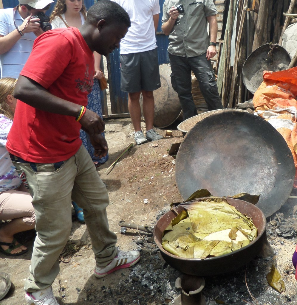 Baking Ethiopian Ambasha in Banana Leaf