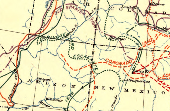 Detail of 1907 map showing pioneer trails and expedition routes through 1884. Detail is centered on the four corners region of the American Southwest.