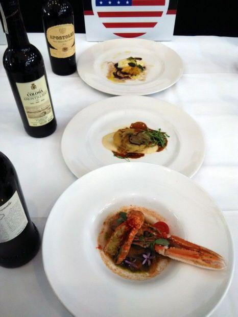 Los tres platos con sus maridajes del restaurante ganador de la Copa Jerez, 15 Romolo, de San Francisco.