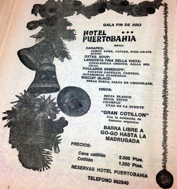 Anuncio de un cotillón en el 'Diario de Cádiz' del 31 diciembre de 1975.