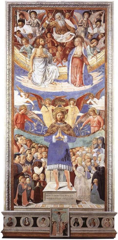 'San Sebastián protege a los fieles'. Benozzo Gozzoli.