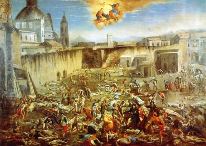 'La plaza del mercado de Nápoles durante la peste de 1656' de Micco Spadaro.