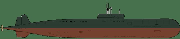 Submarino Clase Papa desde el plano lateral