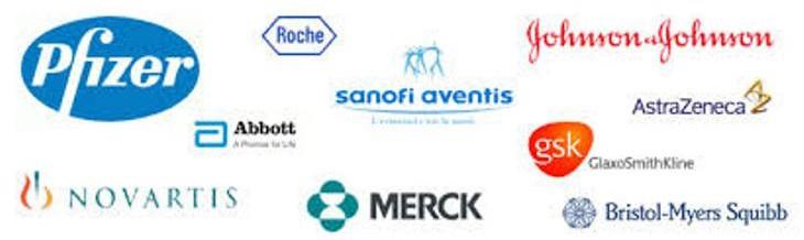 On peut voir sur l'image les logos de tous les plus grands laboratoires pharmaceutiques au monde (Pfizer, Sanofi-aventis, GSK, Novartis, etc.).