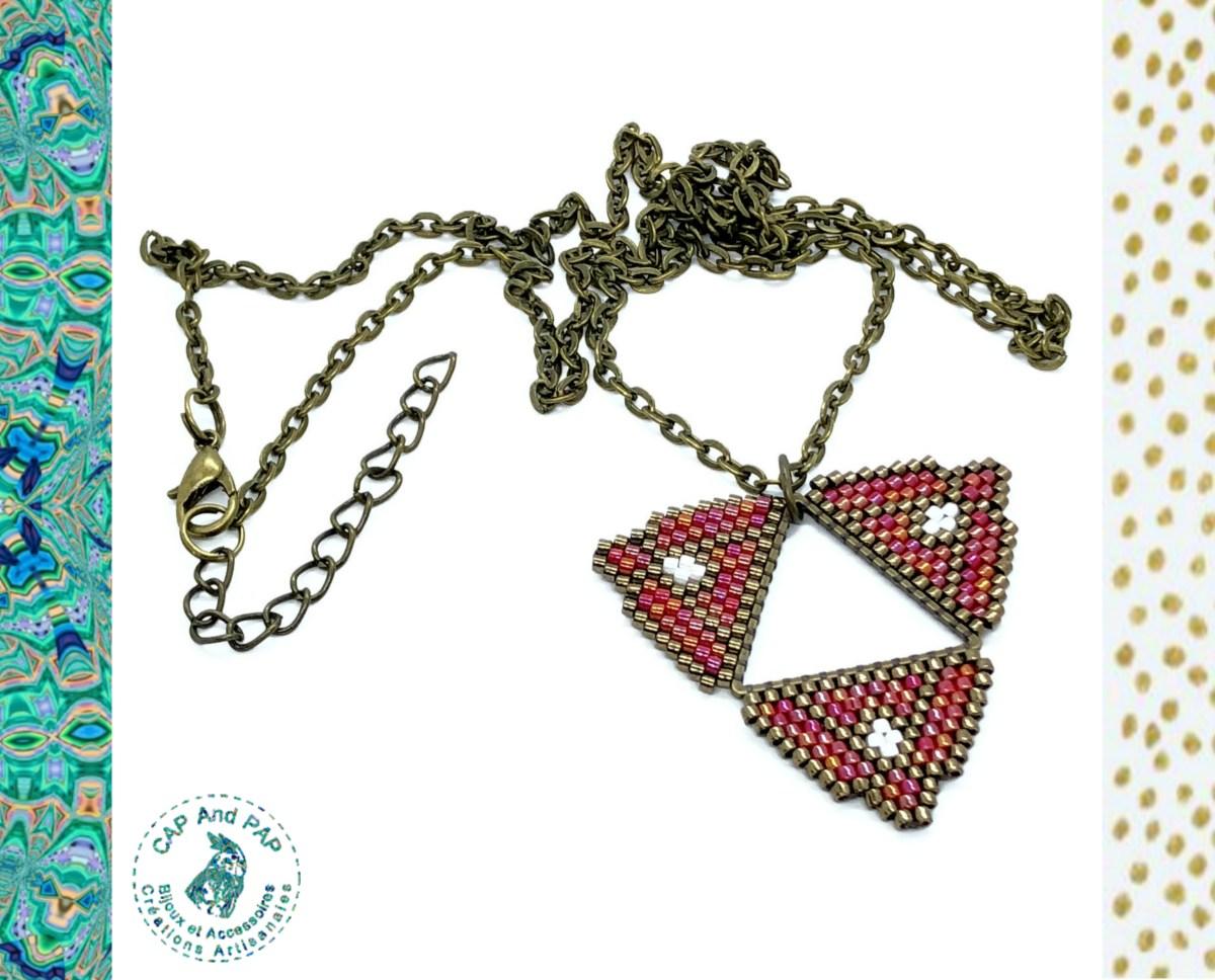 Pendentif ethnique rouge et bronze - Perles tissées