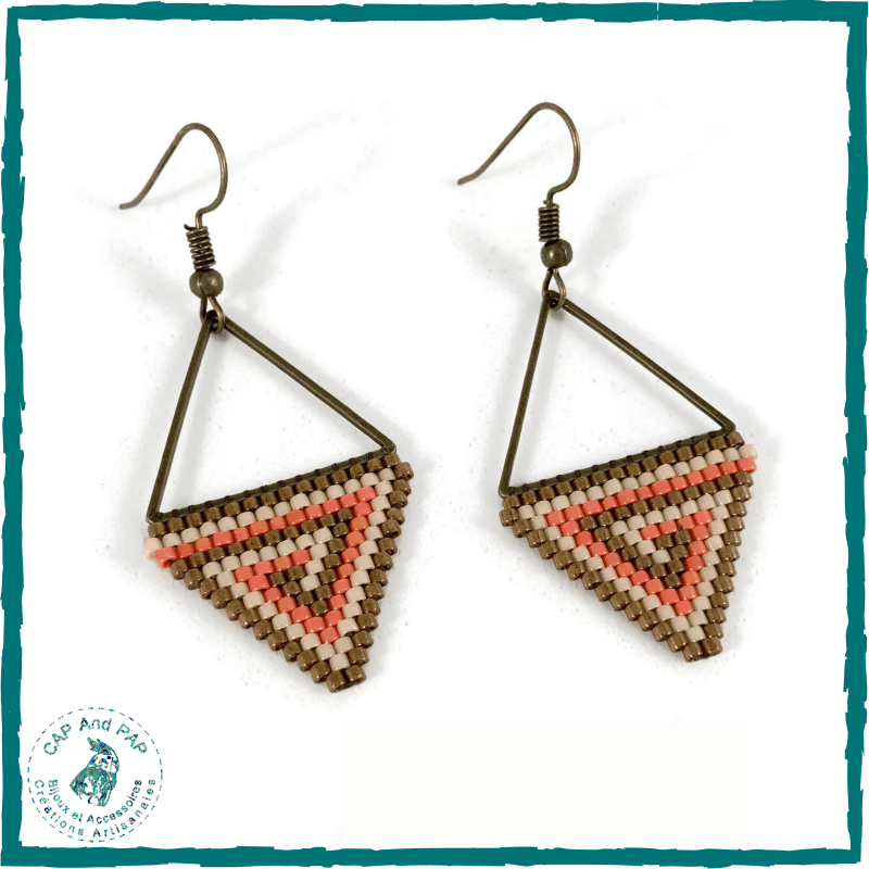 Boucles d'oreilles triangulaires - Spirales orange et bronze