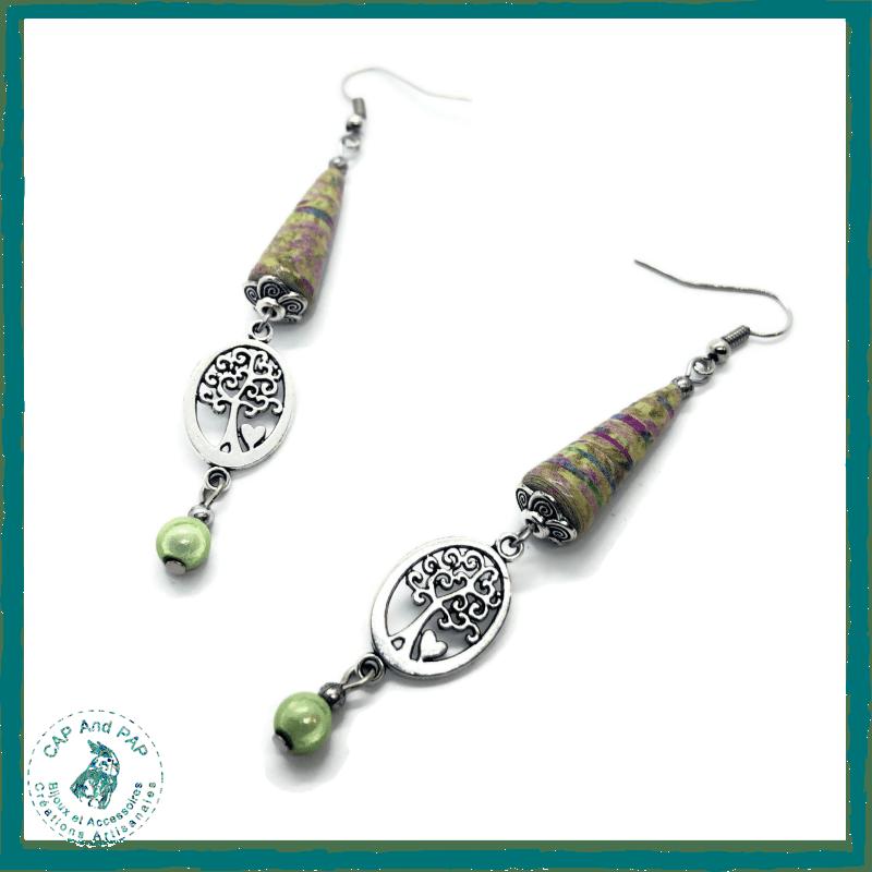 Boucles d'oreilles artisanales arbre de vie - Perles en Papier