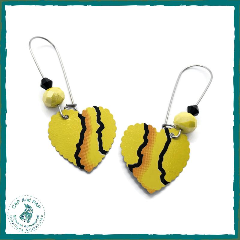 Boucles d'oreilles jaunes et noires - Dormeuses Coeurs - Canettes recyclées
