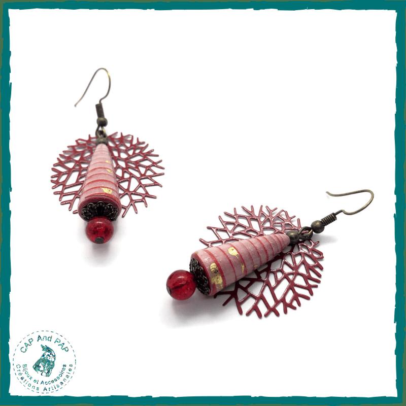 Boucles d'oreilles artisanales rouges - Perles en papier - Filigrane en métal