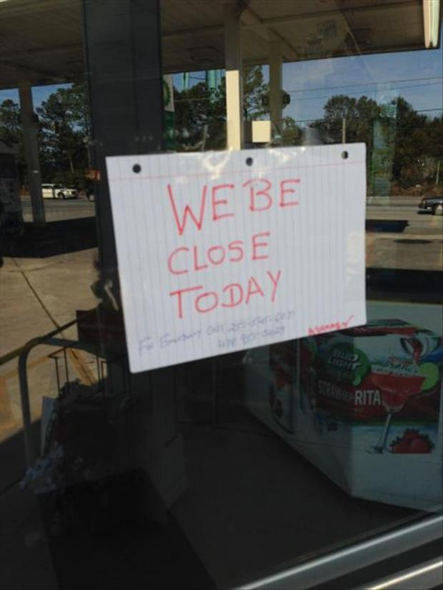We Be Closed-today