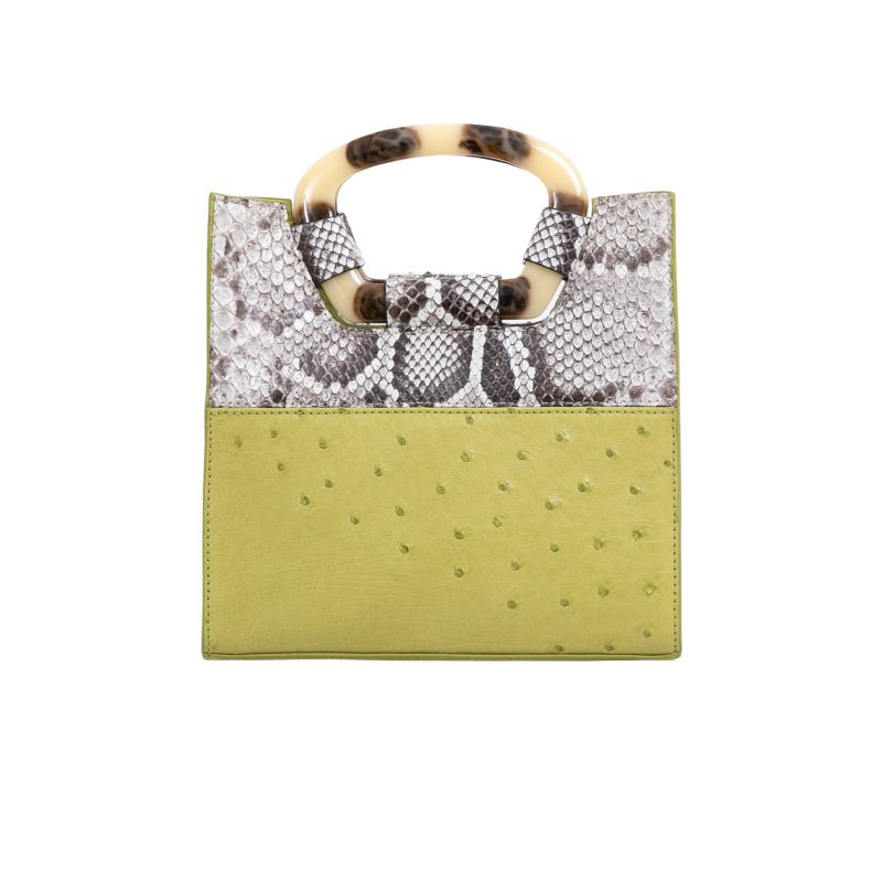 Palma in Chartreuse Ostrich & Natural Burmese Python Combination 3