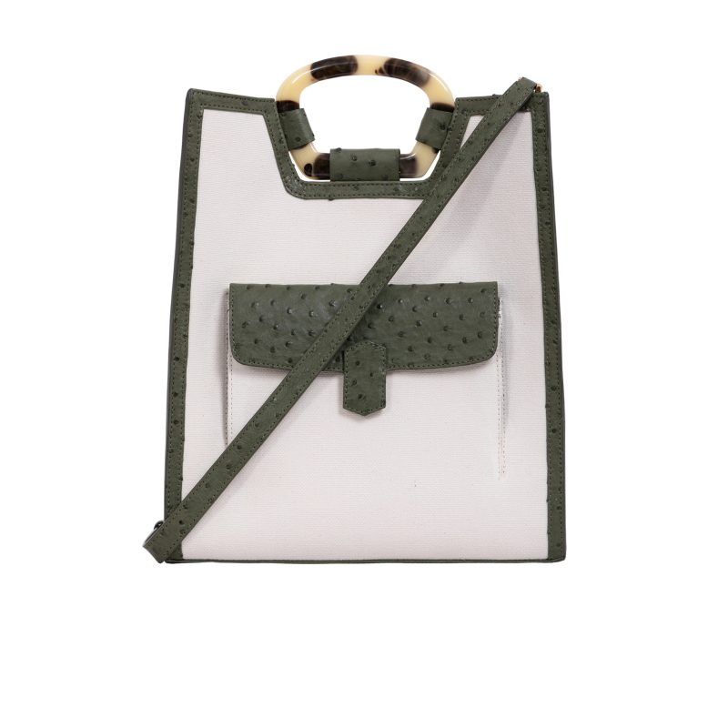 Monaco in Forest Green Ostrich & Canvas Combination 1