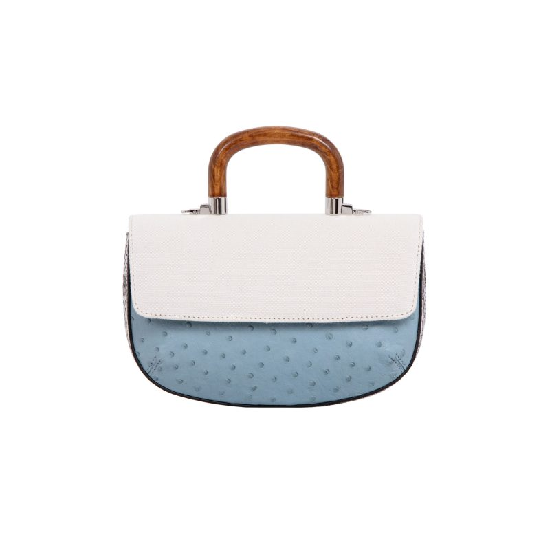 Picco in Sapphire Ostrich & Natural Python with Canvas 3