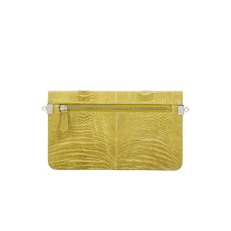 Accordion Crossbody Wallet in Chartreuse Ostrich Leg 3