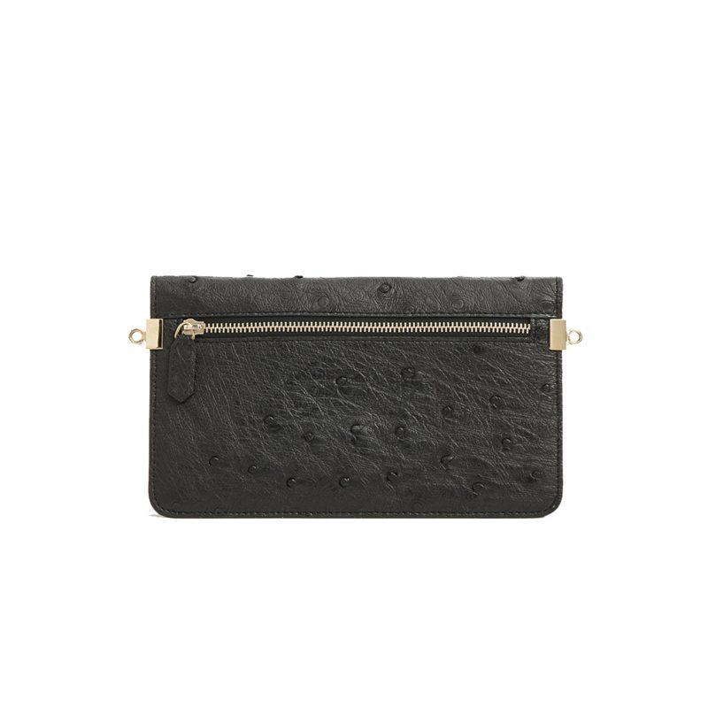 Accordion Crossbody Wallet in Black Ostrich 3