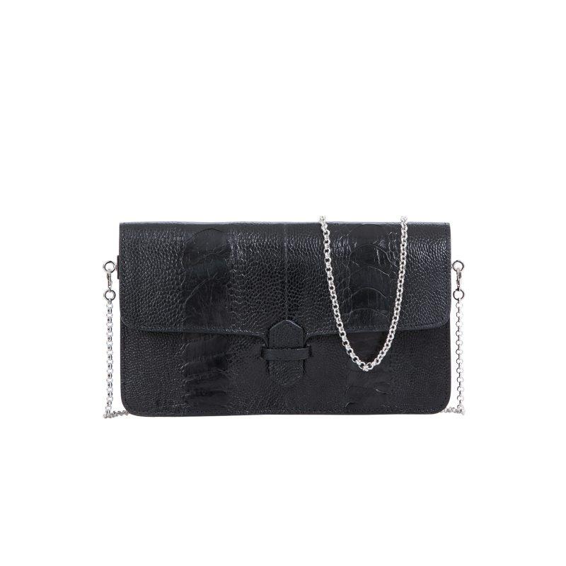 Accordion Crossbody Wallet in Black Ostrich Leg 1