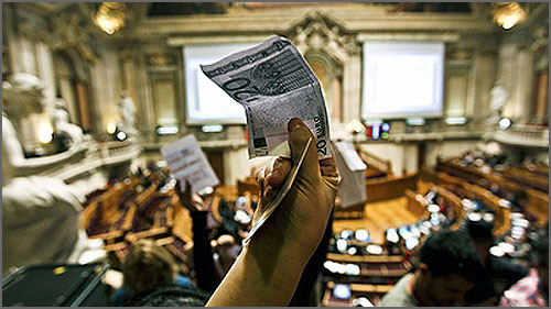 Protesto dos 20 euros na Assembleia da República