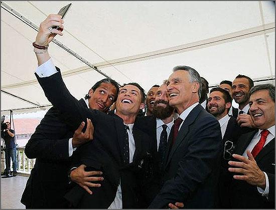 A seleção com o Presidente da República