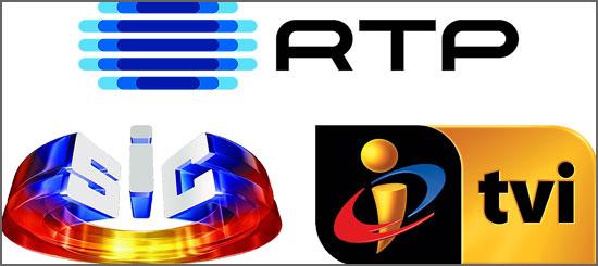 Os logos da RTP, SIC e TVI