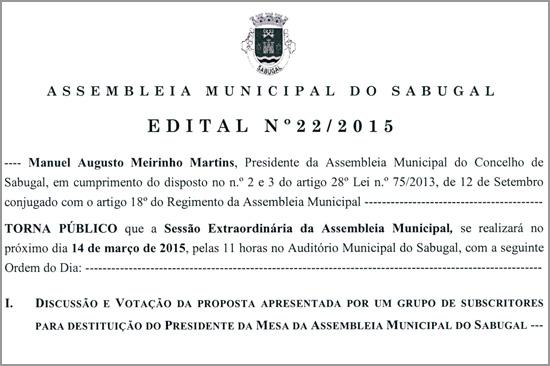 Edital - Assembleia Municipal do Sabugal - Capeia Arraiana