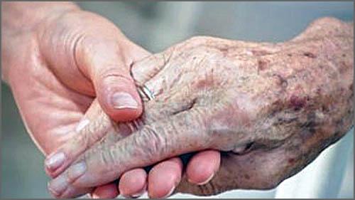 Mãos: dum jovem / dum grisalho