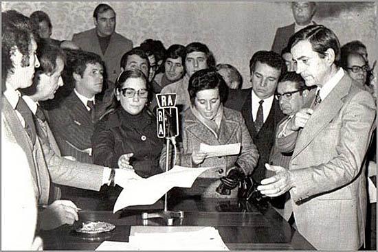 Tomada de posse do primeiro presidente da Câmara do Sabugal eleito democraticamente - João Alberto Antunes Lopes