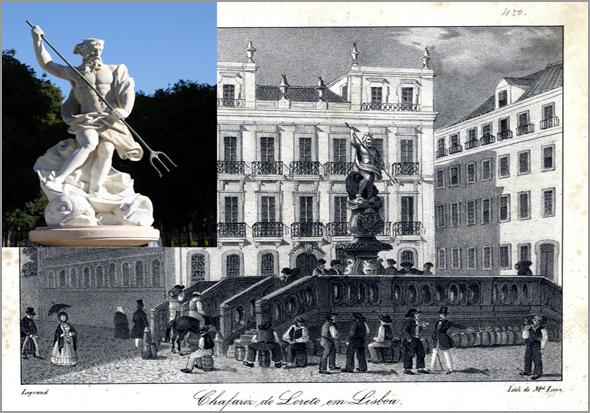 Chafariz do Loreto ou de Neptuno, existente no Largo do Chiado até 1853. Gravura do século XIX. Na fotografia, a estátua de Neptuno, de Machado de Castro, hoje no Largo de D. Estefânia - Capeia Arraiana