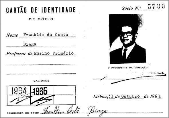 Cartão de Professor de Franklim Costa Braga - Capeia Arraiana