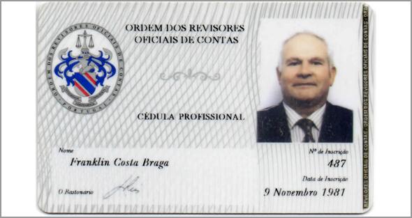 Cartão de Franklim da Ordem dos Revisores Oficiais de Contas