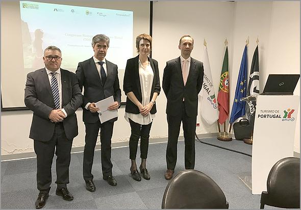 António Robalo, Ana Alonso, Pedro Machado e Filipe Silva na apresentação do COETUR - Capeia Arraiana