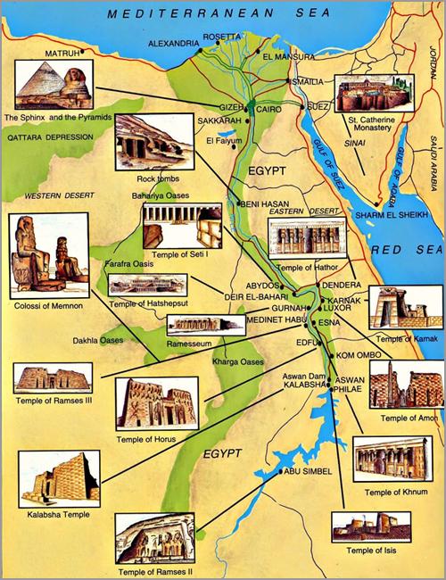 Mapa do Egipto Turístico por onde andou Franklim - Capeia Arraiana