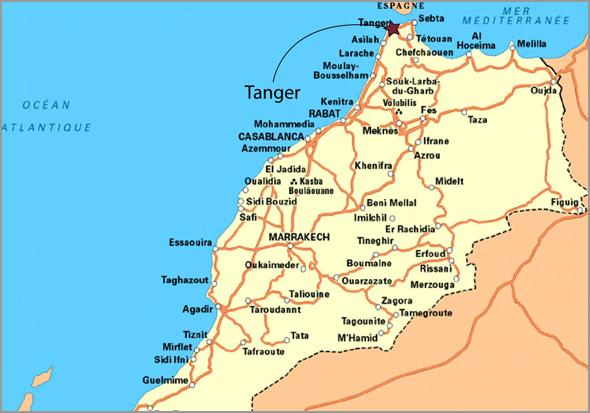 Mapa de Marrocos com Marraqueche, Meknes e Casablanca