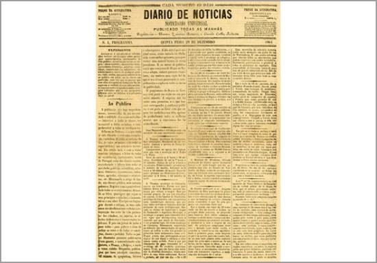 Primeira edição do Diário de Notícias sob a direcção do jornalista e escritor Eduardo Coelho
