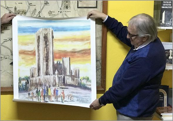 Serigrafia da autoria do pintor sabugalense Alcínio Vicente