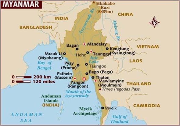 Mapa de Myanmar, antiga Birmânia