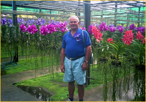Franklim no jardim-estufa das orquídeas