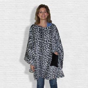 Women's Fleece Poncho Cape Leopard