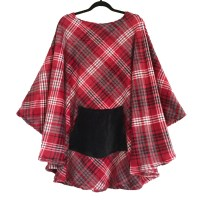 Hospital Gift Plaid Fleece Poncho Cape